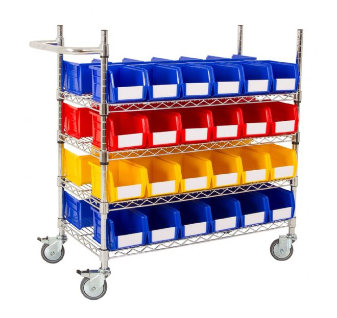Chrome Trolley with Coloured Bins - Kit A